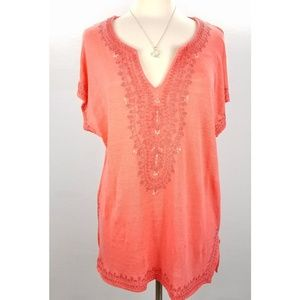 J. Jill Orange Linen Embroidered Tunic Top Large